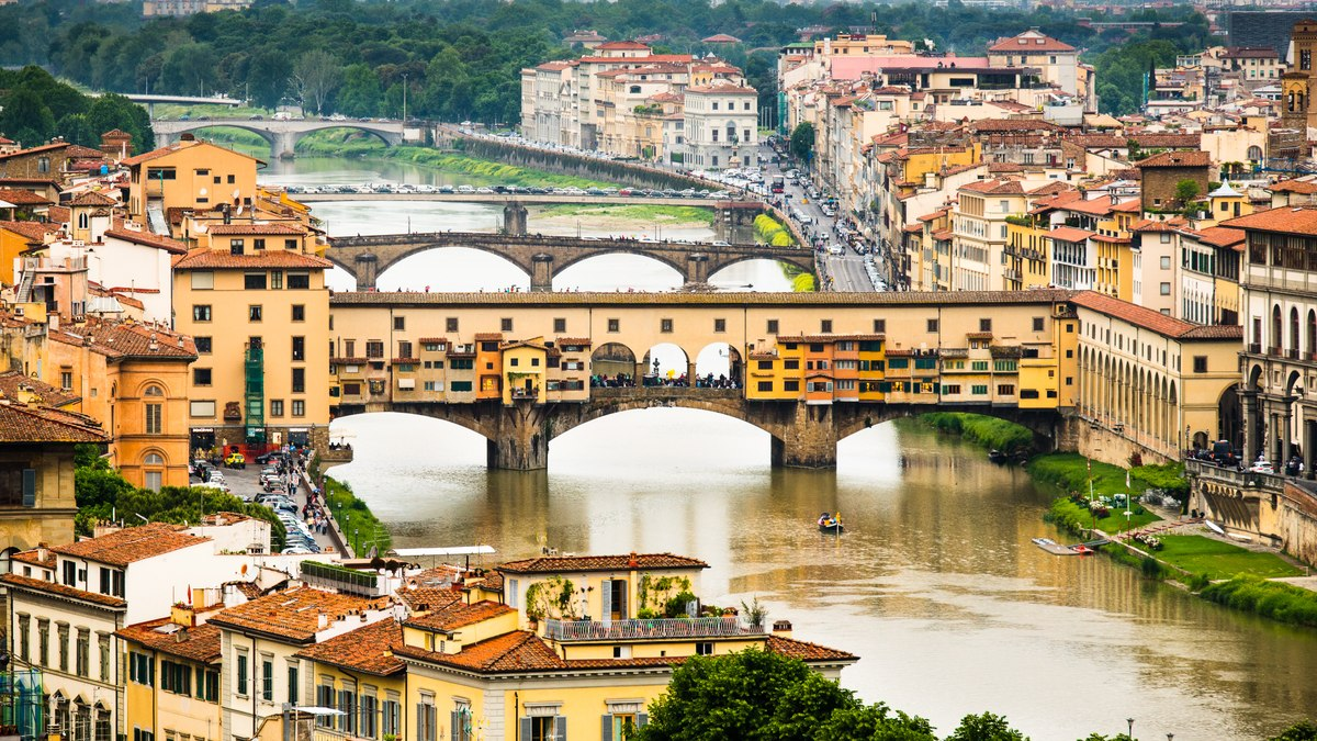 Florence bridges panorama from above