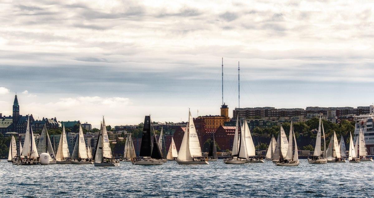 Sailboats on Stockholm river