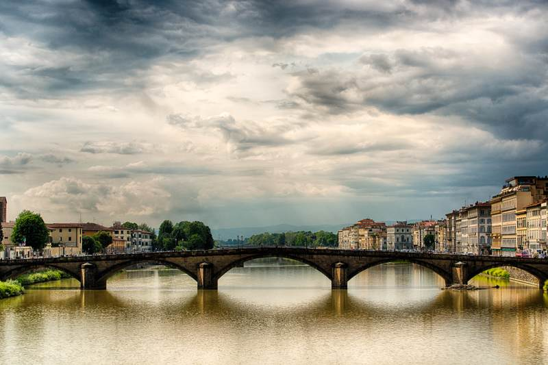 Ponte alla Carraia with clouds, Florence