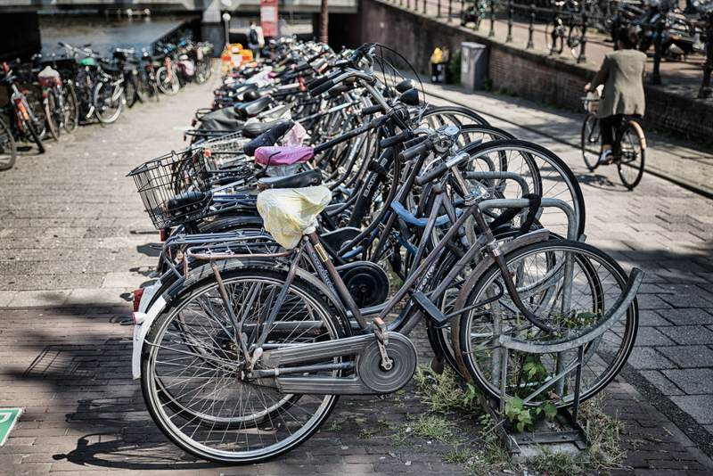 Lots of bikes parked in Amsterdam